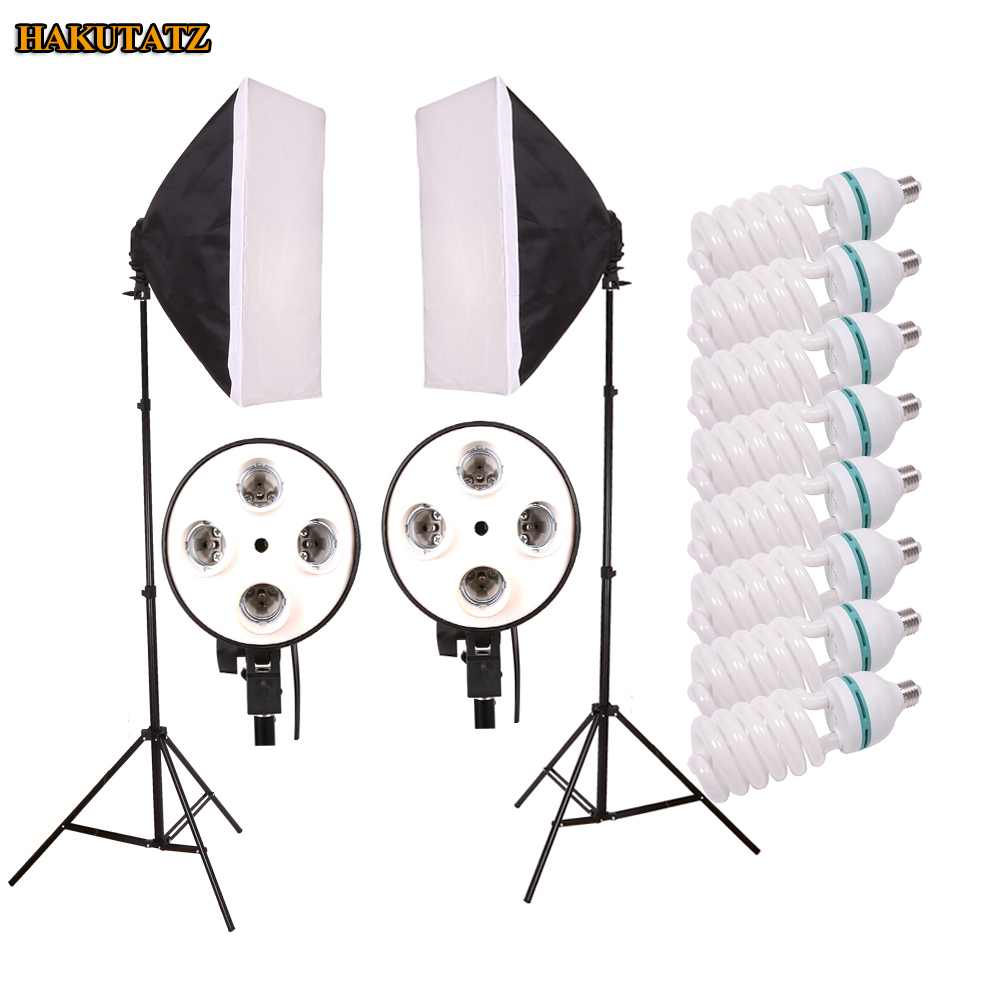 Photo Studio Kit Photography Lighting Kit Studio Light Soft Box 8 PCS E27 Lamp Holder 190MM Light Stand For Camera Photo