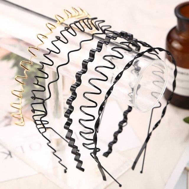 1pc Fashion Unisex Black/golden Wavy Hairband Mens Women Hair Head Hoop Bands Accessories Sport Headband Headdress Styling Tools