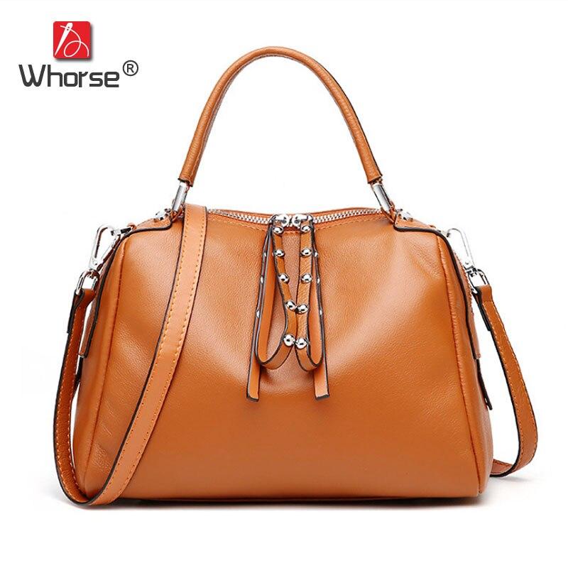 Brand Rivet Zipper Ladies Casual Boston Bag Genuine Leather Women Real Cowhide Handbag Shoulder Messenger Bags For Lady W1015 цены
