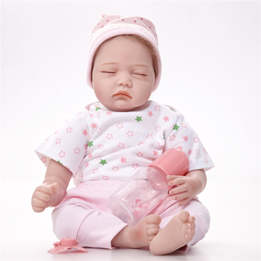 22 inches Sleeping Newborn Doll Silicone Soft Reborn Baby Dolls with Cloth Body Toy for Children Birthday Xmas Girl Gift Bebe 22 inches soft silicone reborn baby dolls cloth body real looking newborn alive girl babies boneca toy kids birthday xmas gift