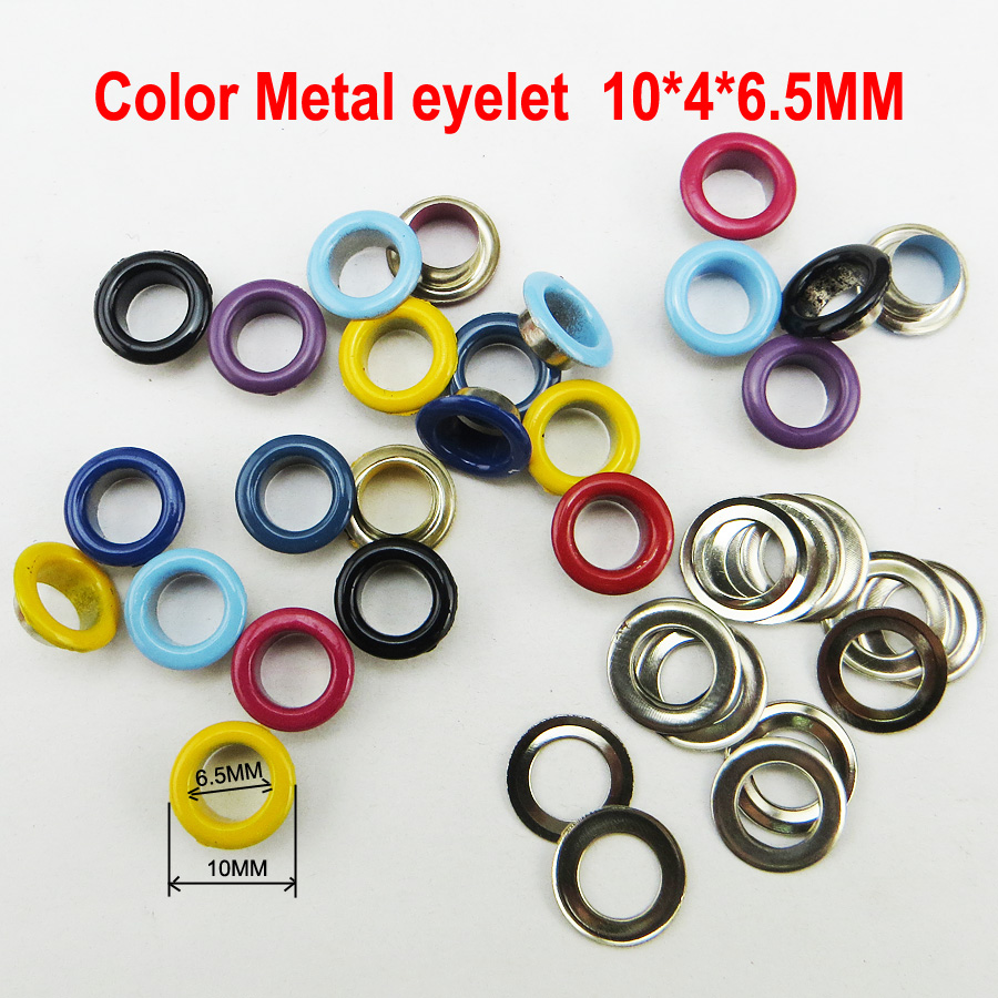 200pcs 10*4*6.5mm Mixed color metal ring eyelet round button clothes accessory leather b ...