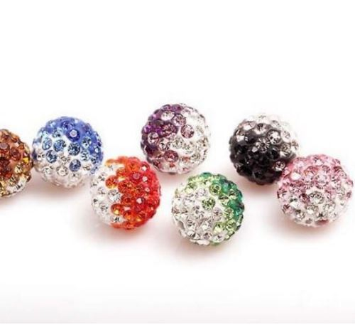 100Pcs Mixed Crystal Rhinestone Pave Clay Disco Ball Loose Spacer Beads DIY 10MM