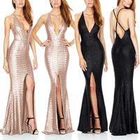 Fashion Women Sexy Long Dresses Deep V Halter Back Cross Backless Sleeveless Ladies Wedding Party Split