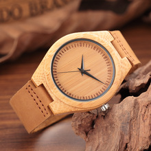 Fashion Brand Mens Womens Wooden Bamboo Quartz Watches Genuine Leather Wood Wristwatch Female and Male Clocks for Gift Horloges
