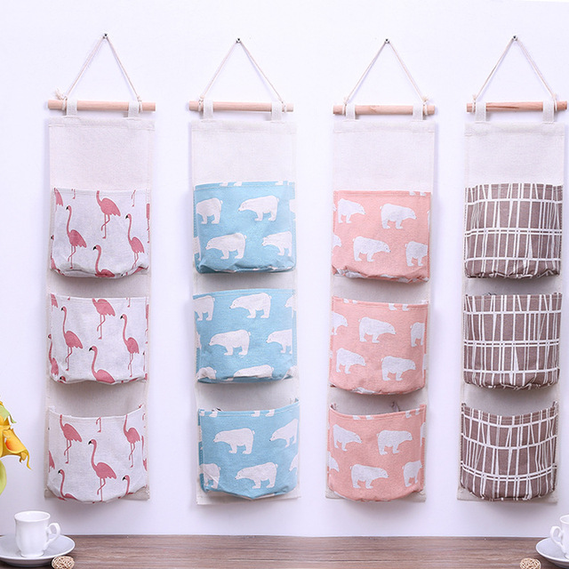 1pcs Flamingo Pattern Multilayer pockets Door Wall Cotton Linen