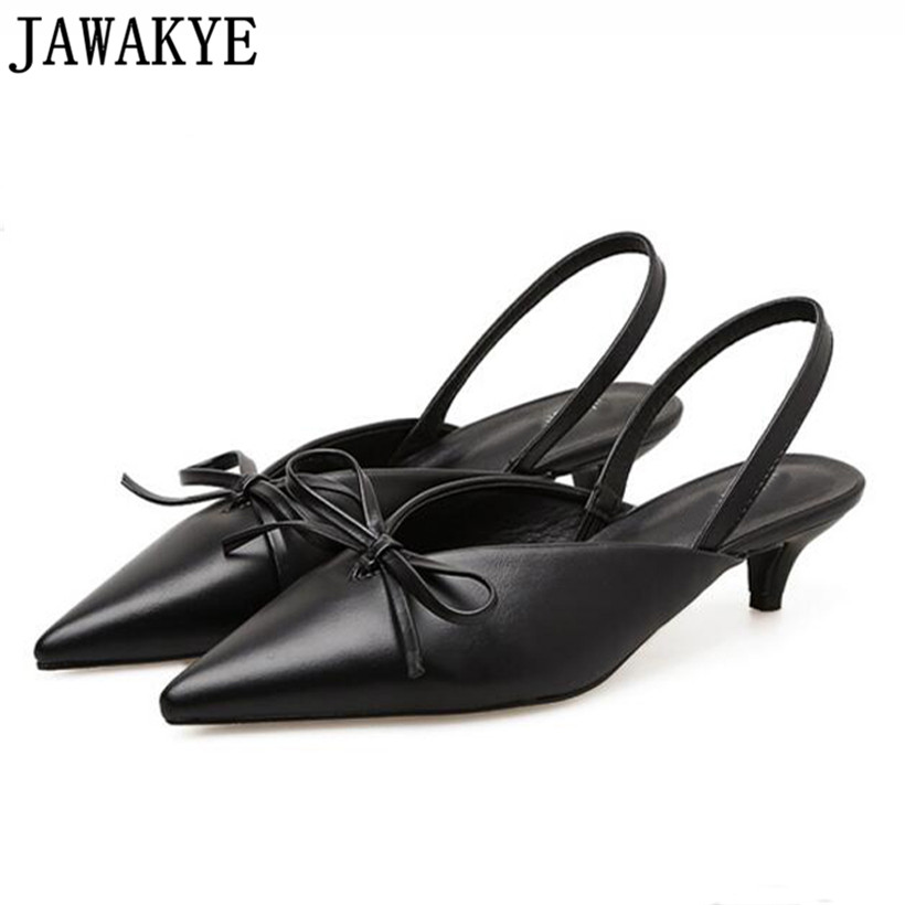 Spring summer sheepskin satin Shoes women kitten heels pointed toe back runway butterfly knot bowties sandals sapato feminino цены онлайн