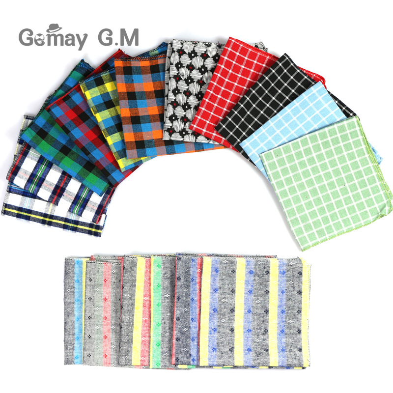 High Quality Hanky Scarves 100% Cotton Plaid Hankies Men's Pocket Square Handkerchiefs 23*23cm