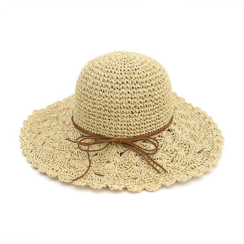 Spring Summer Women Hats Handmade Foldable Straw Hat Large Brim Beach Sun Hats For Holiday
