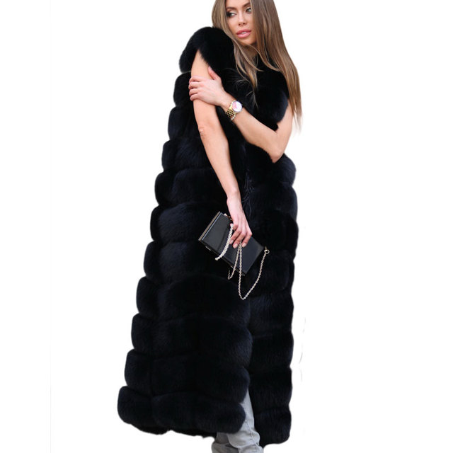New Super Long Fake Fox Fur Vest Women Winter Fashion Faux Fox Fur Vests Woman Warm Artifical Fox Fur Coats Female FV050