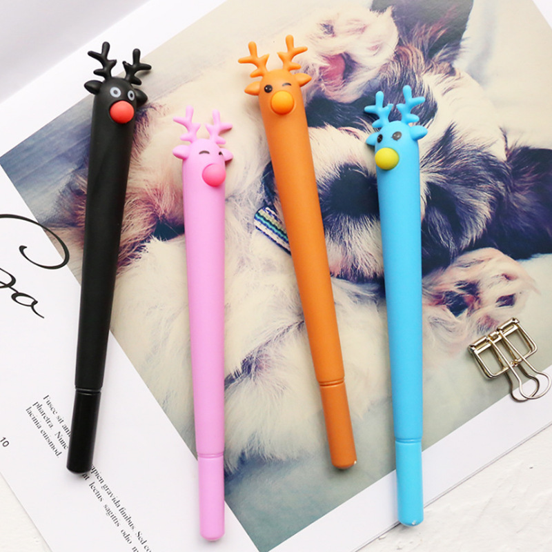 1PC Cute Candy Color Gel Pens Kawaii Deer Gel Pens Cute Gel Pens For Kids Gifts School Office Supplies Stationery