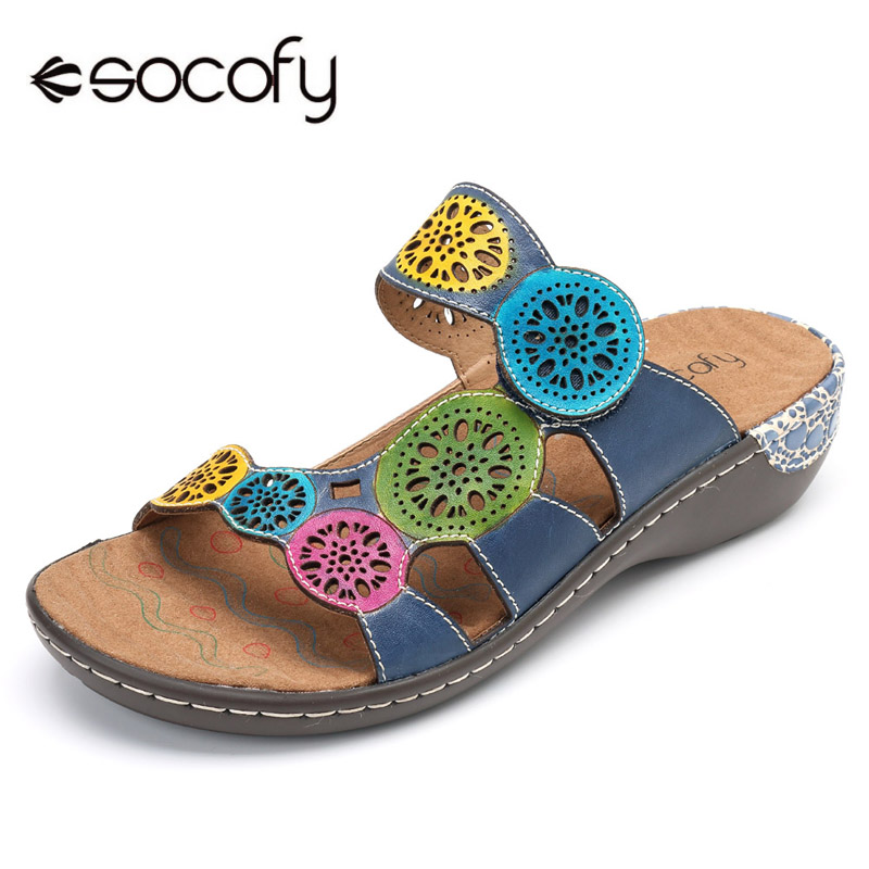 Socofy 정품 가죽 캐주얼 슬리퍼 여성 신발 슬라이드 여름 해변 슬리퍼 빈티지 할로우 아웃 후크 & 루프 플랫 힐 신발 신규-에서슬리퍼부터 신발 의  그룹 1
