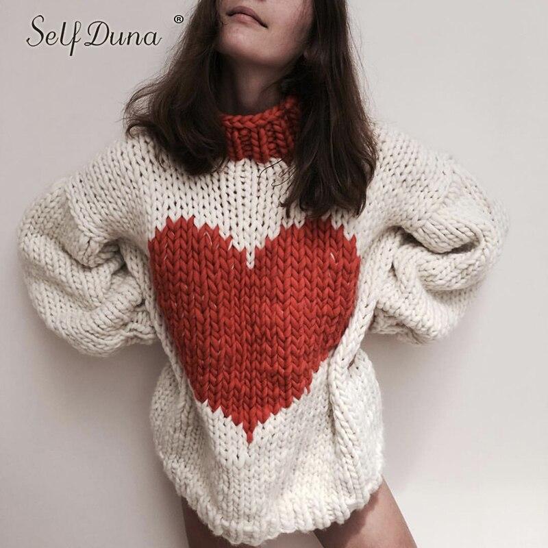 Auto Duna automne hiver demi pull à col roulé pull chaud tricot noël pull amour noir blanc femmes tricoté pull - 2