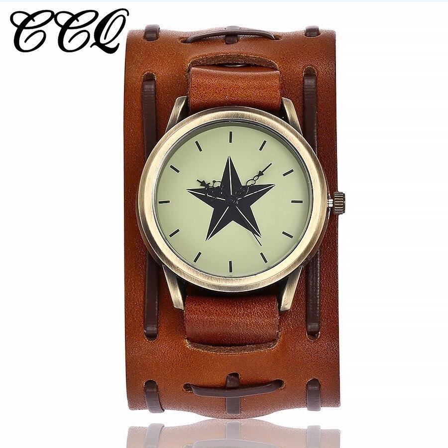 CCQ Marke Punk Stil Männer Stern Zifferblatt Armbanduhren Lässige Mode Vintage Kuh Lederband Quarzuhr Männlich Relogio Masculino