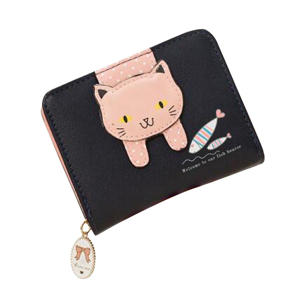 Women Cute Cat Wallet Small Zipper Wallet Leather Coin Purse Wallet Bags For Women 2018 Coin Wallet Girls Purse