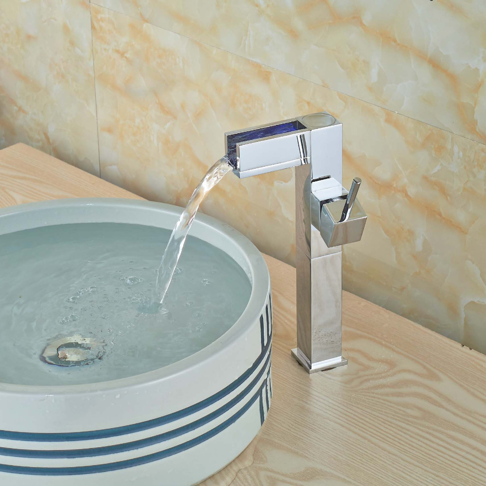 Waterfall Type Bathroom Faucets: LED Tall Style Chrome Brass Waterfall Bathroom Faucet Tall