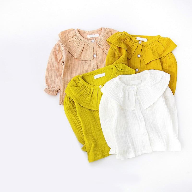 2018 Spring Children Peter Pan Collar Sweater Solid Baby Shirt Children Girl Top Blouse Kids Infant Blouse Cardigan 100% Cotton