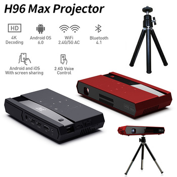 2019 powerful configuration H96 Max S912 2.4G Voice Control 2G16G Android 6.0 Dual WiFi RGB LED DLP Android TV Box Projector