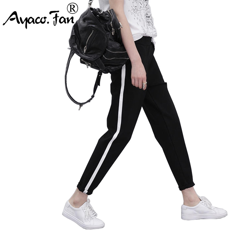 2019 Autumn Spring New Sweatpants Women Casual Harem Pants Loose Trousers For Women Black Striped Side Slim Sweat Pants Female