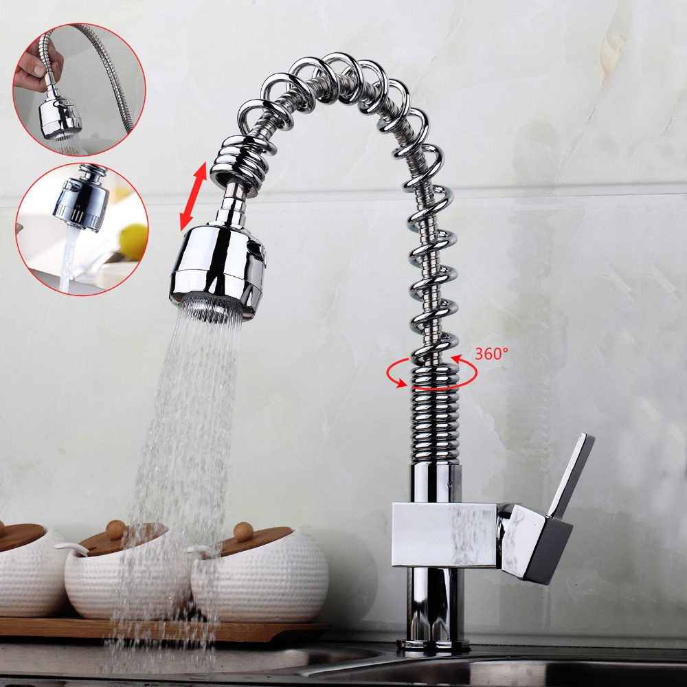 AU Pull Out Spray Swivel Spout Chrome Brass Finish Deck Mounted Tap Kitchen Sink Faucet Hot & Cold Mixer Polish Tap good quality wholesale and retail chrome finished pull out spring kitchen faucet swivel spout vessel sink mixer tap lk 9907