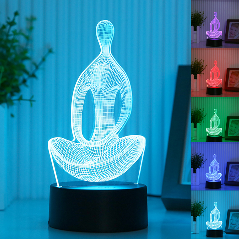New Acrylic 7 Color Changing 3D LED Nightlight Meditation of Acrylic Bedroom Lamp Living Room Lights Decoration Night Light led night light 7 color changing touch switch bedroom bookcase beside lamp portable for bedroom living room or camping
