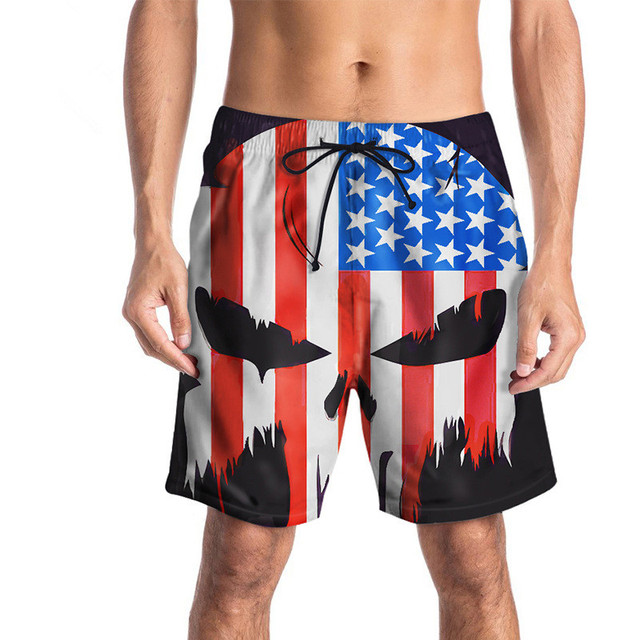 82c2267377 USA SIZE Summer Men's Board Shorts 3D flag skull printed Beach Short  Bermuda Swimwear Casual Digital printing Pants