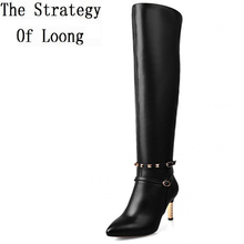 Women Autumn Winter Thin High Heel Genuine Leather Buckle Rivets Red Bottom Side Zip Over The Knee Boots Plus Size 33-44 SXQ0910