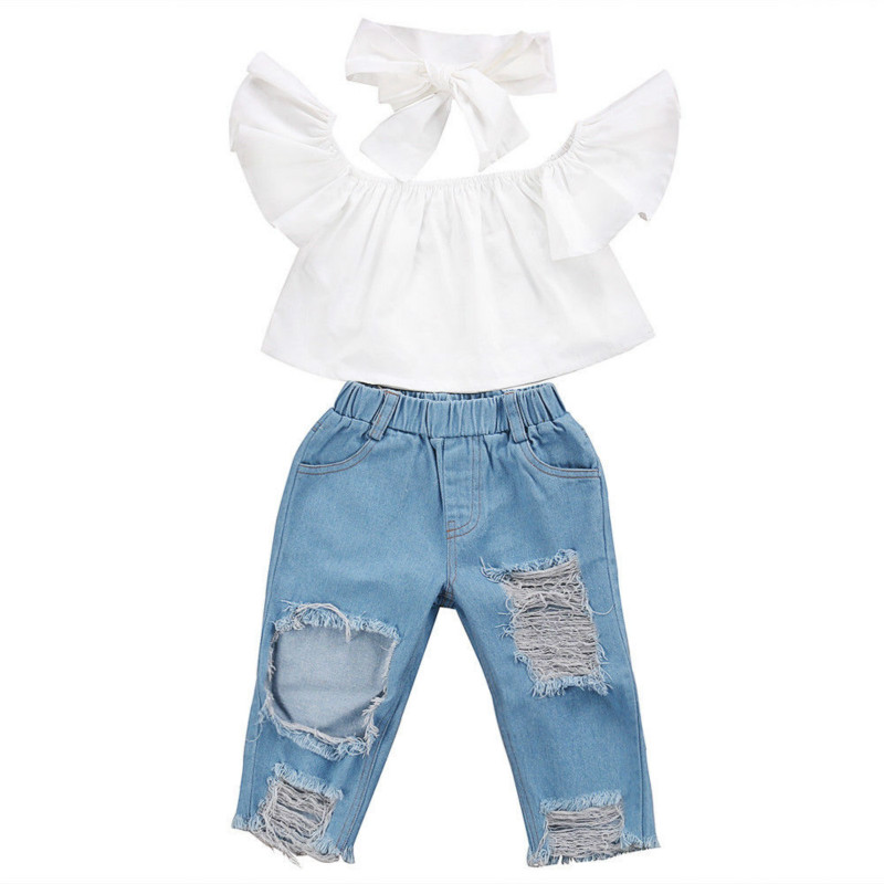 Streetwear Fashion Newest HOT Sale Toddler Baby Girls Kids Off Shoulder Ruched White Tops Hole Pants Denim Jeans Outfit 3pcs Set
