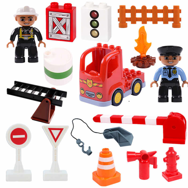 Fireman Fire Truck Diy Building Blocks Duploe Bricks Diy Boys Toys for Children Parts Christmas Gifts
