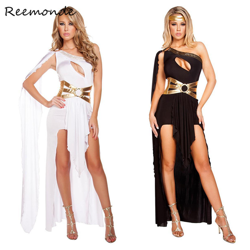 8cc6f1ee7 Greek Goddess Cosplay Costumes Cleopatra Egypt Roman Black White Sexy  Dresses In Women Girls Halloween Party