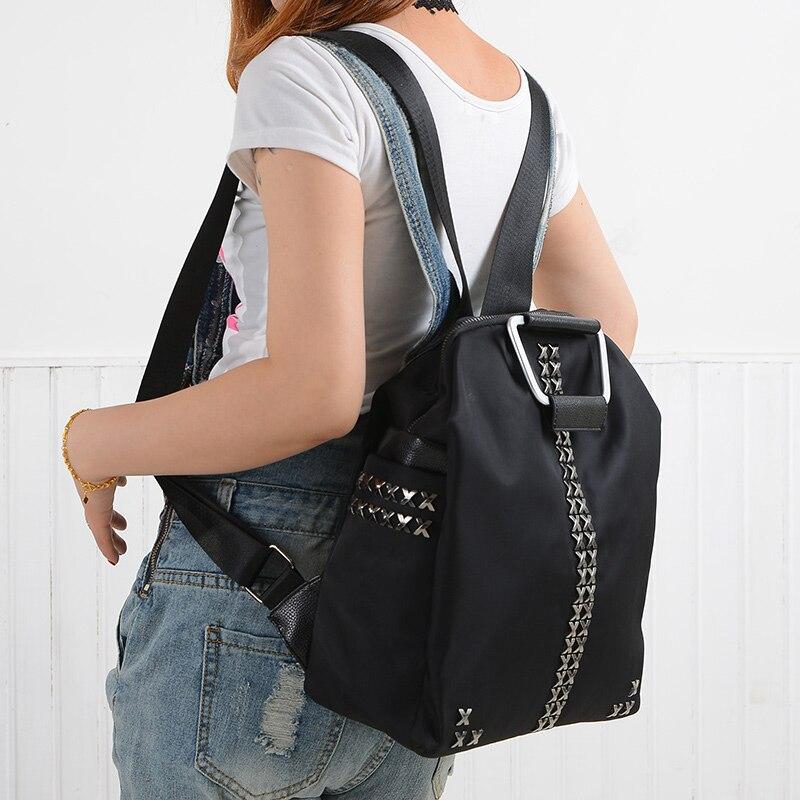 2016 Nylon oxford shoulder bags rivets female bag schoolbag leisure travel backpack 5054
