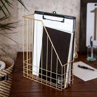 Gold Metal Iron Storage Basket Nordic Scandinavian Modern Book Magazine Home Desk Sundries Storage Basket Organizer Decor Office