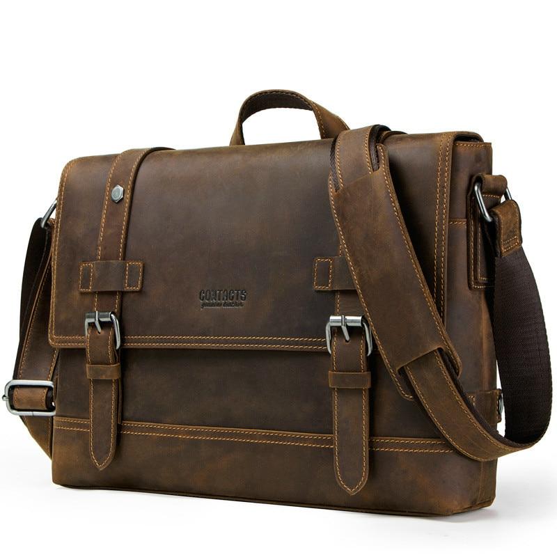 Vintage Bag Men/'s Genuine Leather Briefcase Messenger Shoulder Handbag Business