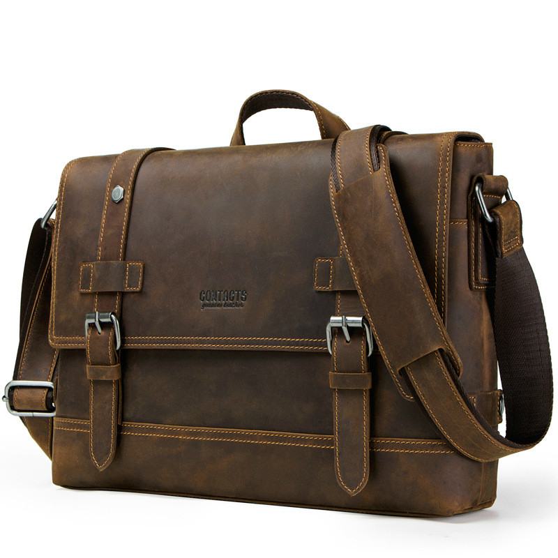 Top Grade Male Men's Vintage Real Crazy Horse Leather Briefcase Messenger Shoulder Portfolio Laptop Bag Case Office Handbag HOT
