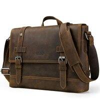 Top Grade Male Men's Vintage Real Crazy Horse Leather Briefcase Messenger Shoulder Portfolio Laptop Bag Case Office Handbag HOT