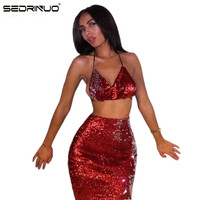 Sedrinuo Sommer Stil Sexy v-ausschnitt Lace Up Damen Kleid Backless Club Party Kleider Prom Roter Pailletten Kleidung Frauen Sets
