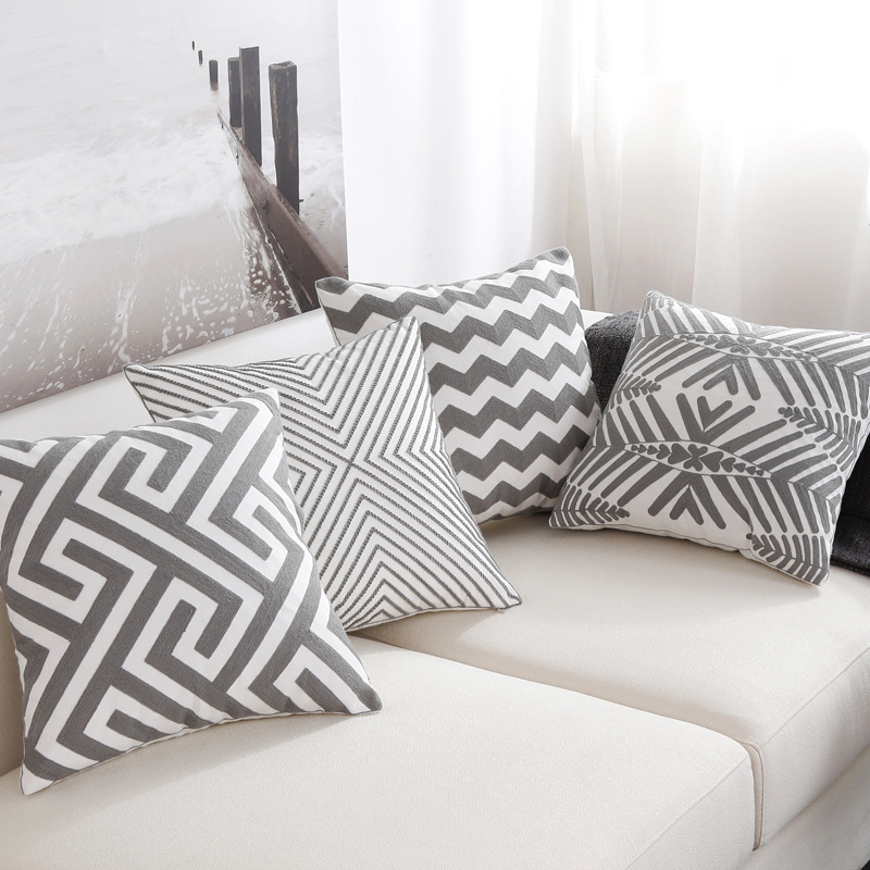 Throw Pillows For White Sofa : Nordic Style Embroidery Pillow Cushion Cover Geometric Grey White Striped Sofa Throw Pillows ...