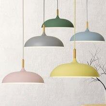 Современные подвесные потолочные лампы e27 Деревянный алюминиевый