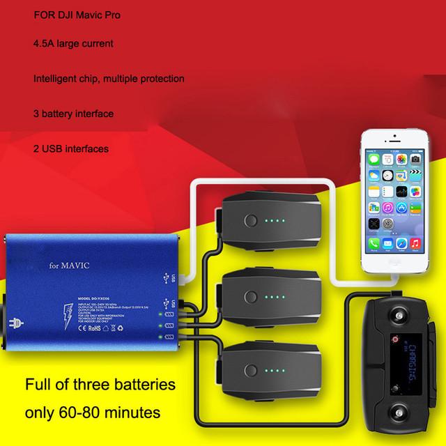 Simplestone 5 en 1 Inteligente Rápido Equilibrio Cargador de Múltiples Baterías RC USB Para DJI Mavic Pro 0112 envío de la gota