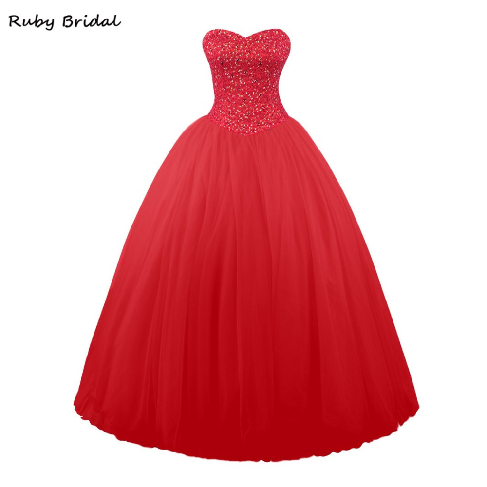 107fa7e0344 Ruby Bridal Vestidos De Fiesta Red Tulle Beaded Ball Gown Prom Dresses  Luxury Long Strapless Sweeheart