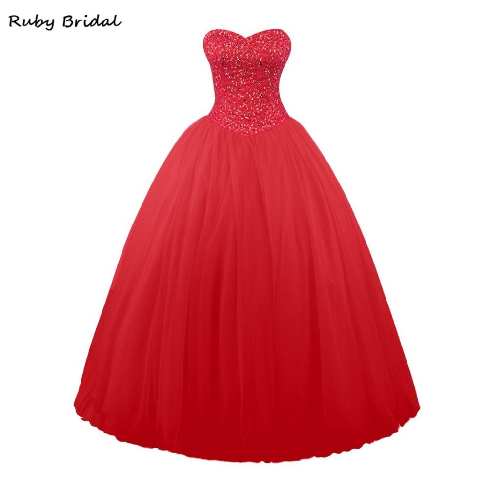 Robe De mariée rubis De Fiesta rouge Tulle robe De bal perlée robes De bal De luxe longue sans bretelles robe De bal De promo LP045