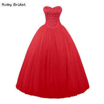 Ruby Bridal Vestidos De Fiesta Red Tulle Beaded Ball Gown Prom Dresses Luxury Long Strapless Sweeheart Prom Party Gown LP045 - DISCOUNT ITEM  36% OFF All Category