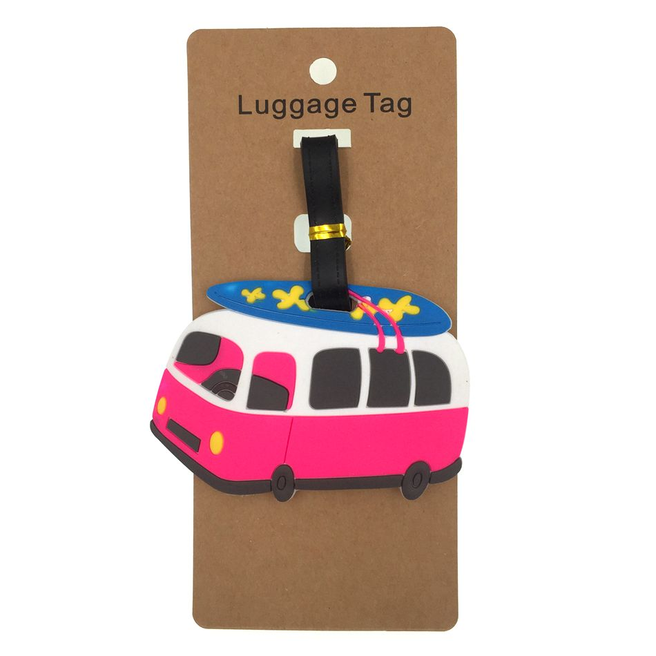 Cartoon Bus Luggage Tag Travel Accessories Silica Gel Suitcase ID Address Holder Baggage Boarding Tag Women Portable Label Bag