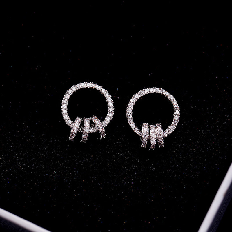 New Silver Color Geometric Circle Stud Earrings For Women Fashion Simple Small Round CZ Crystal Earrings Party Gift
