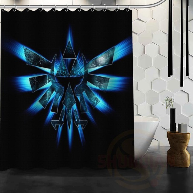 ShunQian Custom The Legend Of Zelda Shower Curtains Polyester Waterproof Game Logo Fabric Bath