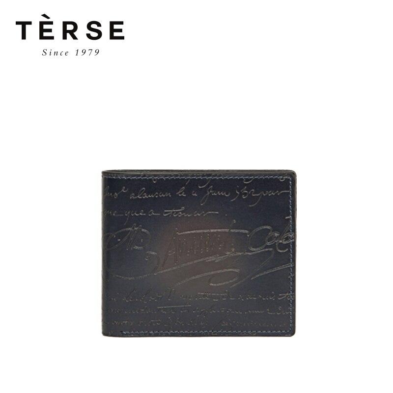 TERSE новый мужской короткий кошелек из натуральной кожи, винтажный мини кошелек с гравировкой, визитницы, 4 вида цветов кошелек, DT0720 1 - 5
