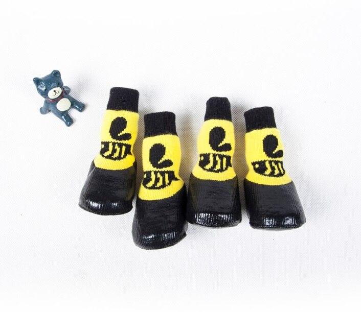 4 шт./компл. уличные водонепроницаемые Нескользящие нескользящие носки для собак и кошек ботиночки обувь Wth резиновая подошва лапа домашнего животного протектор для маленькой большой собаки - Цвет: yellow