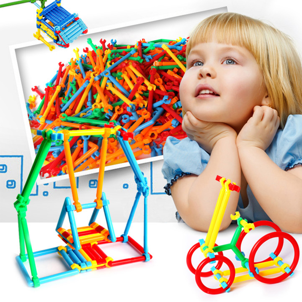 550PCS Smart Stick Building Blocks Safe Plastic Toy Assembled Educational Toys for Child ...