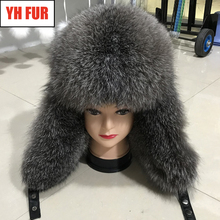 2019 Hot Winter New Genuine Real Fox Fur Hat Men 100 Natural Real Leather Cap Casual Warm Soft Russia Real Fox Fur Bomber Caps cheap Adult Unisex YH-FUR-6232 Solid Skullies Beanies 100 real natural fox fur adjustable suitable for everyone Genuine leather