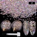 3g Nail Sequins Glitter Powder Silver Paillette with Brush Manicure Nail Art Decoration 2 Boxes Set