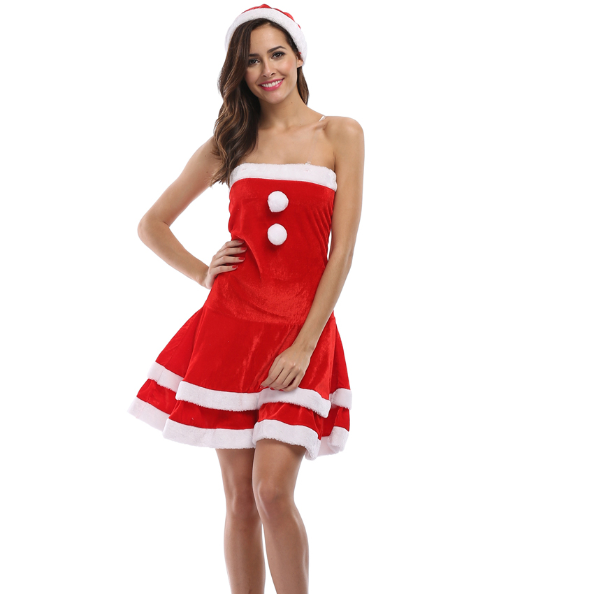 women red christmas party dresses santa claus clothing 2018 sexy slim bodycon dress woman velvet faux fur patchwork mini dress in dresses from womens